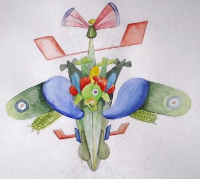 medium spit-glider with pilot