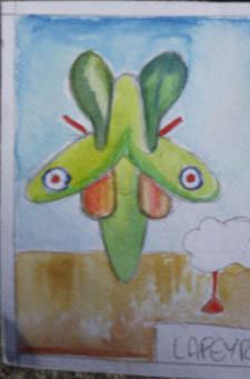 spit-glider small watercolour card