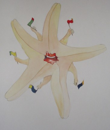 starfish with flags