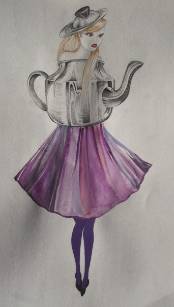 teapot circle dress kitchen couture pencil, watercolour and gouache